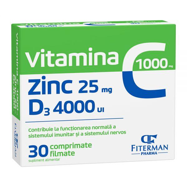 VITAMINA C 1000 +Zn 25 +D3 4000 3bls x 10cpr film