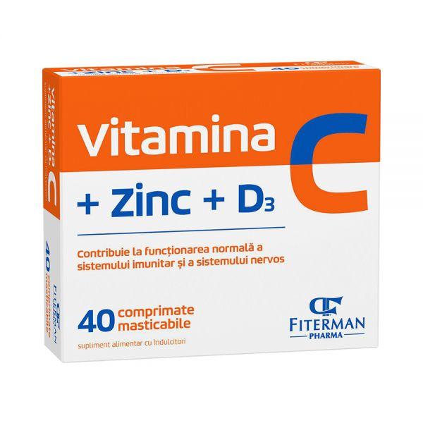 VITAMINA C + ZINC + D3, 2bls x 20cpr mast