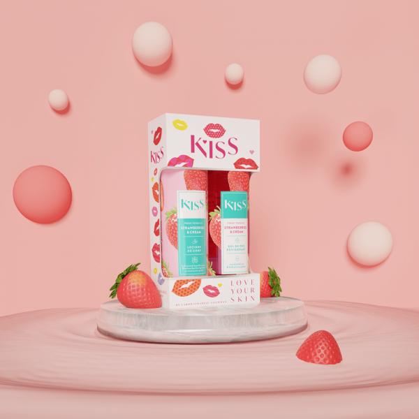 KISS - STRAWBERRY & CREAM(gel dus+lot.corp 250ml)